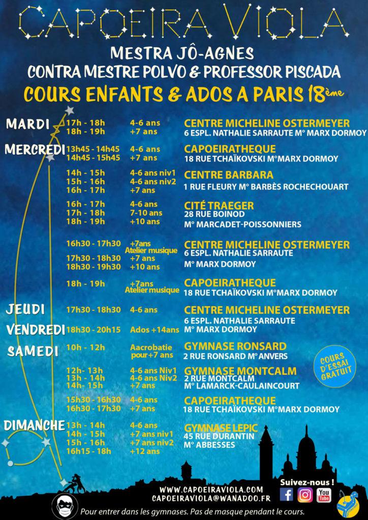 programmeCapoeiraViola Enfants et Ados à Paris saison 2021 2022